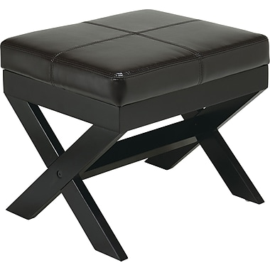 Office Star OSP® Designs Eco Leather X-leg Ottoman, Espresso