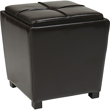 Office Star OSP Designs Faux Leather 2 Piece Ottoman Set, Espresso