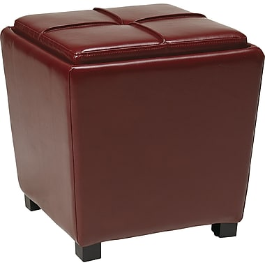 Office Star OSP® Designs Faux Leather 2 Piece Ottoman Set, Crimson Red