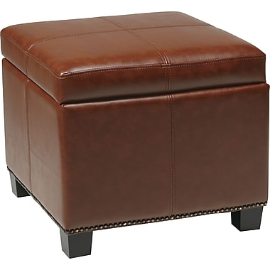 Office Star OSP® Designs Eco Leather Metro Ottoman, Saddle