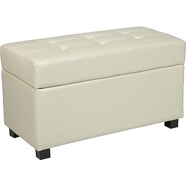 Office Star OSP® Designs Faux Leather Metro Storage Ottoman, Cream