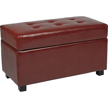 Office Star OSP® Designs Faux Leather Metro Storage Ottoman, Crimson Red