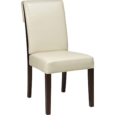 Office Star OSP® Designs Rollback Parsons Chair, Cream, Eco-leather Seat
