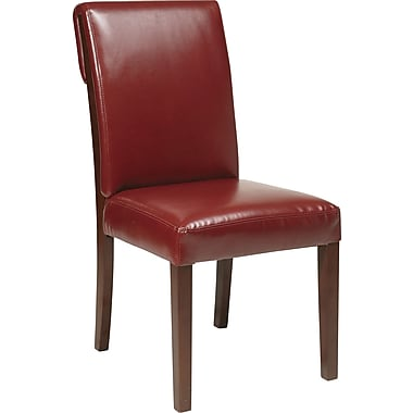 Office Star OSP® Designs Rollback Parsons Chair, Crimson Red, Eco-leather Seat