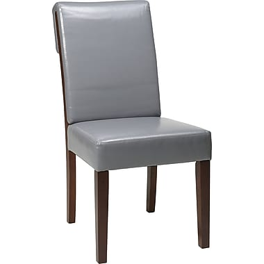Office Star OSP® Designs Rollback Parsons Chair, Steel Gray, Eco-leather Seat