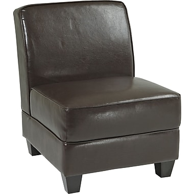 Office Star Avenue Six® Eco Leather/Wood Milan Chair, Espresso