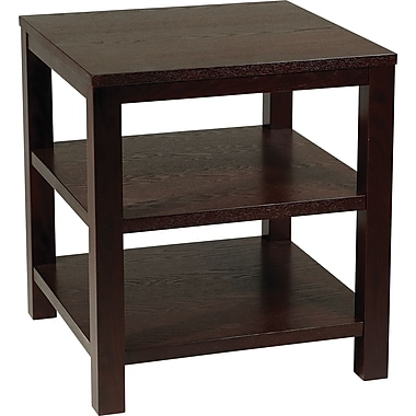 Office Star Avenue Six® 20in. H x 20in. W x 20in. D Wood and Wood Veneer Merge Square End Table, Espresso