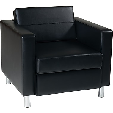 Office Star Pacific Vinyl Arm Chair, Black (PAC51-V18)