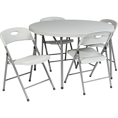 Office Star 48in. Round Resin Folding Card Table plus 4 Chairs, Lt Gray