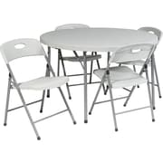 Office Star® 48 Round Resin Folding Card Table plus 4 Chairs, Lt Gray