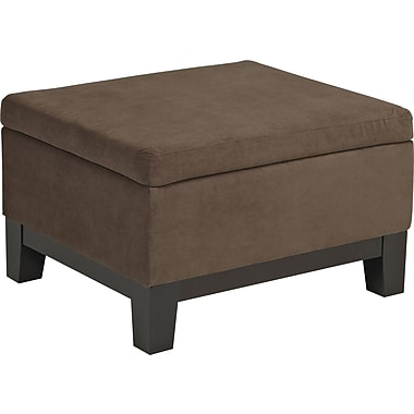 Office Star Avenue Six® Fabric Regent Storage Ottoman, Walnut