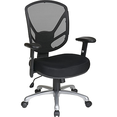 Office Star Fabric Screen Back Task Chair with Aluminum Finish Base, Black
