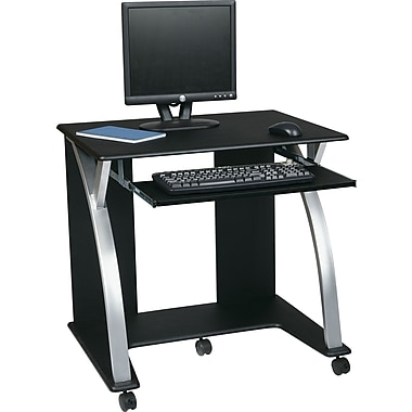 Office Star OSP® Designs PVC Saturn Computer Cart, Black/Silver