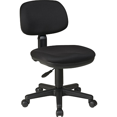 Office Star WorkSmart Swivel Fabric Task Chair, Armless, Black