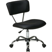 Office Star Mid-Back Vinyl Task Chair, Armless, Black