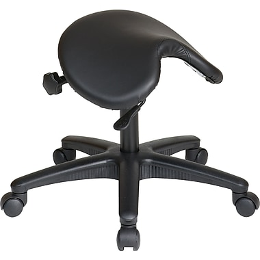 Office Star WorkSmart™ Backless Stool with Saddle Seat and Seat Angle Adjustment, Black