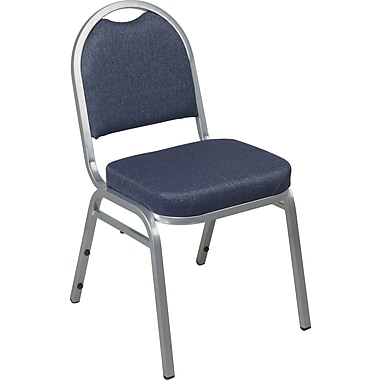 Office Star Fabric Armless Stacking Chair with Back, Blue, 2/Carton