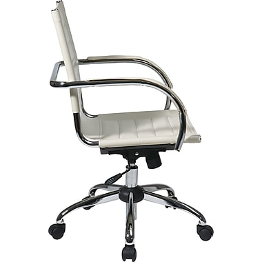 Office Star Trinidad Vinyl Office Chair, Fixed Arm, White