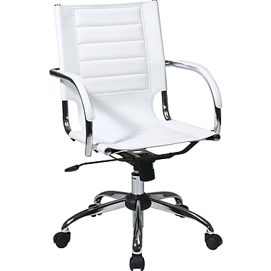 Office Star Ave Six Mid-Back Vinyl Conference Chair, Fixed Arm, White