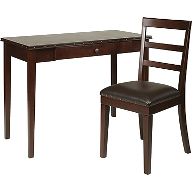 Office Star Tucson 42in. Desk and Chair Combo with Nail Head Accent, Dark Espresso