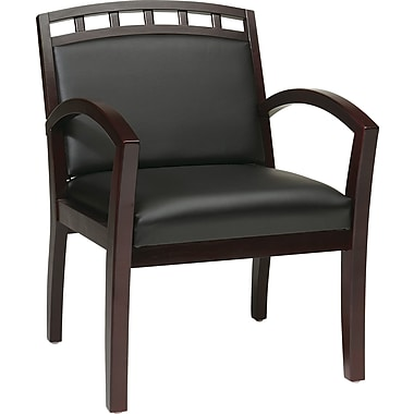 Office Star WorkSmart™ Faux Leather Mahogany Finish Leg Guest Chair, Black