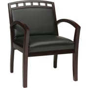 Office Star Wood Guest Leg Chair, Black/Mahogany (WD1643-U6)