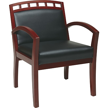 Office Star WorkSmart™ Faux Leather Cherry Finish Guest Leg Chair, Black