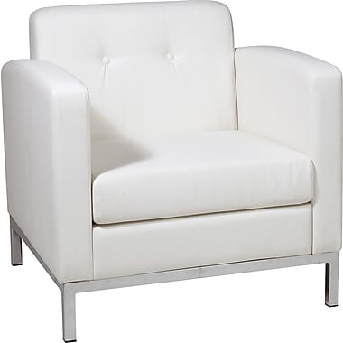 Office Star Avenue Six® Wall Street Arm Chair, White Seat
