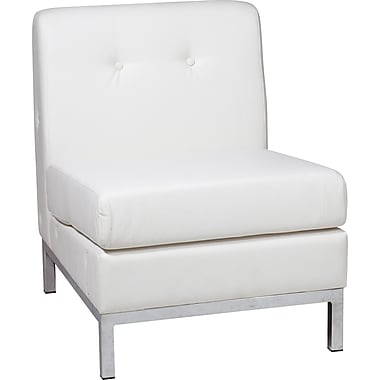 Office Star Ave Six Faux Leather Armless Chair, White (WST51N-W32)