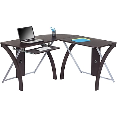 Office Star OSP® Designs L-Shaped Computer Desk, Espresso Finish Laminate