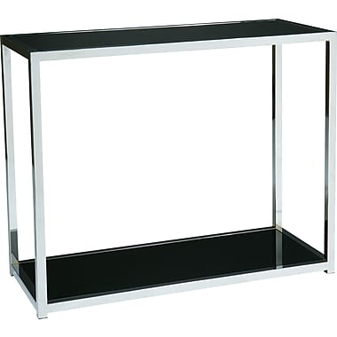 Office Star Avenue Six® 29in. H x 36in. W x 15in. D Wood/Chrome Yield Foyer Table, Chrome/Black