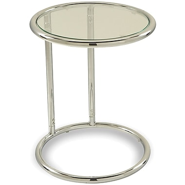 OfficeStar Avenue Six® 21H x 17W x 17D Glass Top/Steel Base Yield Circle Table,Black Top/Chrome Base