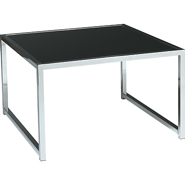 Office Star Avenue Six® 17H x 28W x 28D Chrome/Glass Yield Accent Table with Glass Top, Chrome/Black