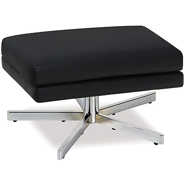 Office Star Avenue Six® Vinyl Yield Ottoman, Black