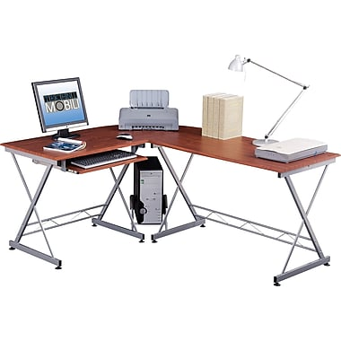 RTA Products Techni Mobili L-Shaped Computer Desk , Mahogany