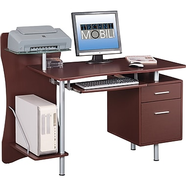 RTA Products Techni Mobili Computer Desk with Storage, Chocolate