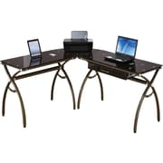 RTA Products Techni Mobili L-Shaped Computer Desk , Chocolate