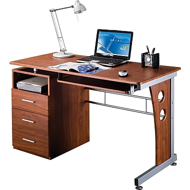 RTA Products Techni Mobili Computer Desk with Storage, Mahogony