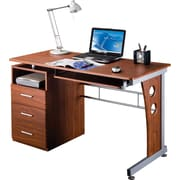 RTA Products Techni Mobili Computer Desk with Storage, Mahogany