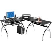 RTA Products Techni Mobili L-Shaped Computer Desk, Black
