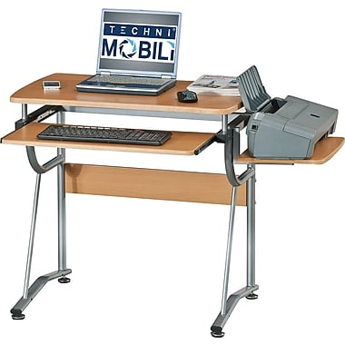 RTA Products Techni Mobili Compact Computer Desk, Cherry
