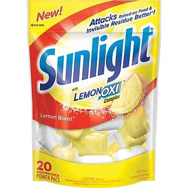 Sunlight Automatic Dishwasher Powder with LemonOxi, 20/Pack