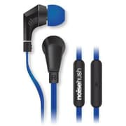 NoiseHush NX80-11904 Earbud Headphones with Mic, Blue and Black