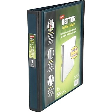 1in. Staples® Better® View Binders with D-Rings, Dark Teal