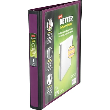 Staples 1-Inch Better D-Ring View Binder, Plum (22158-US)