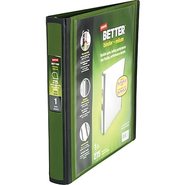 1in. Staples® Better® View Binders with D-Rings, Olive