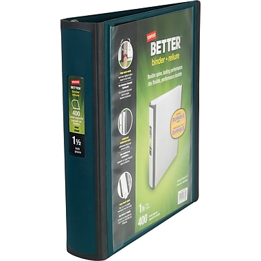 1-1/2in. Staples® Better® View Binders with D-Rings, Dark Teal