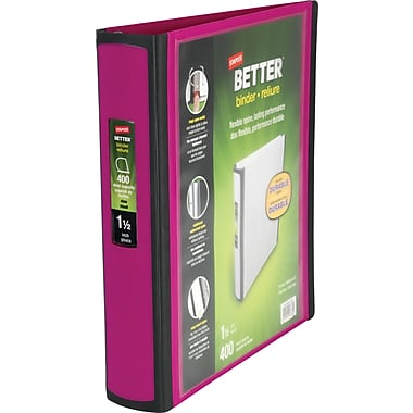 1-1/2in. Staples® Better® View Binders with D-Rings, Fuchsia