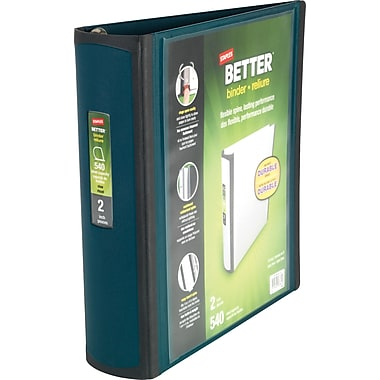 2in. Staples® Better® View Binders with D-Rings, Dark Teal
