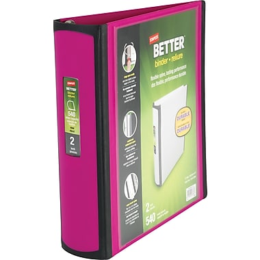 2in. Staples® Better® View Binders with D-Rings, Fushia